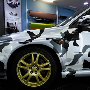 wrx subaru in camo design color matte metallic color arlon sott avery kpmf grafityp premiumshield 3dcarbon idymonas car wrapping window films